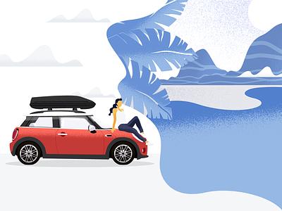 Dreaming of vacation vacation dream girl summer mini moris illustration car