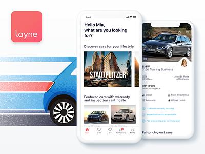 Layne App interface illustration ios app interacrion uiux car sell used cars layne