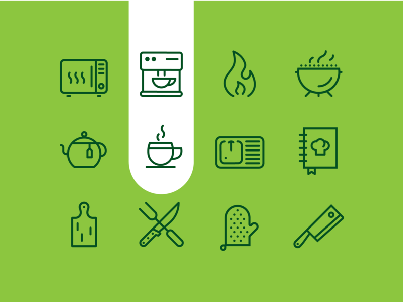 Kitchen time line vector coffee cooking sign iconography food kitchen icon set icon