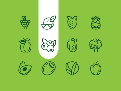 Fruits and Veggies healthy food olive grapes veggetables fruits food sign vector line icon set iconography icon