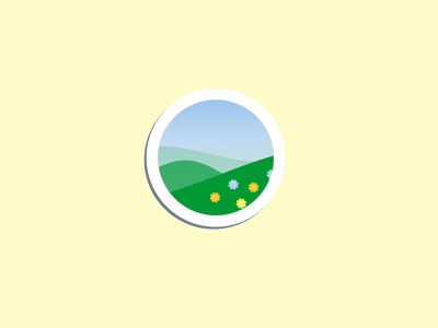 Button button icon circle round green land flowers sky grass