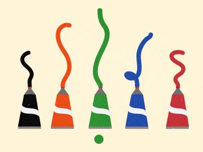 Choose your colour! colour paint tubes ui ux kiddies children app interface choose chooser