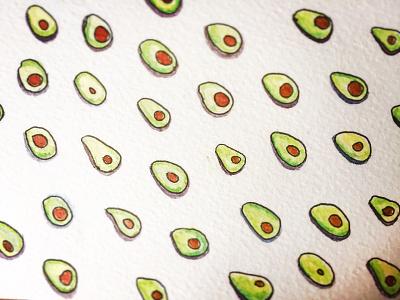 Avocado Party veg fun paint pattern brown avocado watercolour green