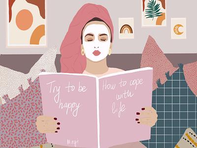 Relaxing Girl digital illustration illustration drawing design