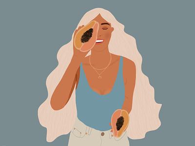 Papaya Lover digital illustration illustration drawing design