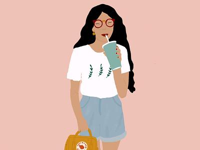 Happy Girl branding digital illustration illustration drawing design