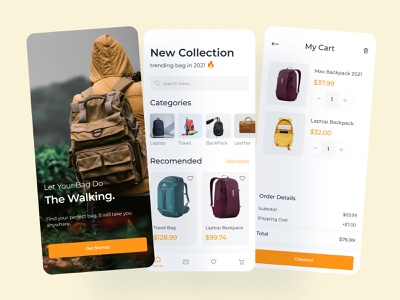 Backpack Shopping App ux shopping app product page ecommerce shopping ecommerce women bag bag mobile app application mobile ui app clean uiux home screen log in check out illustration bag store app shopping