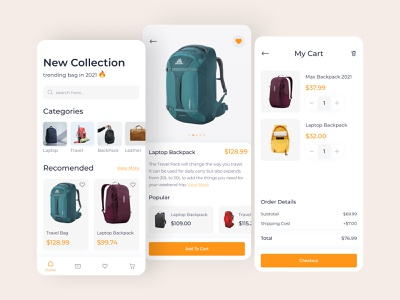 Backpack Shopping App ios shopping bag store app illustration uiux clean app mobile ui application mobile app bag women bag ecommerce ecommerce shopping check out add to cart product page shopping app ux