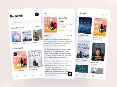Bookends Book App rafiqurrahman51 trending story book system news app ecommerce education reading app library ios app book shop mobile ui typography ui ux uiux book app e-library ebook design illustration