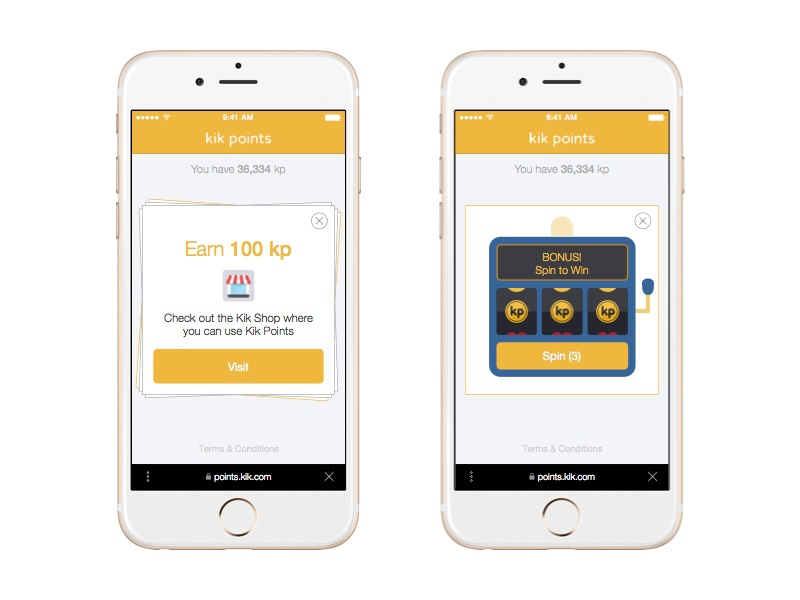 Kik Points cards slot machine spinner iphone 6 iphone web mobile rewards points kik points design kik