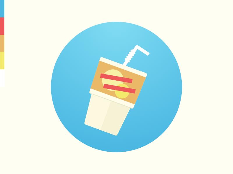 Soft Drink gradient flat glass drink soda summer cup straw wip brand logo icon