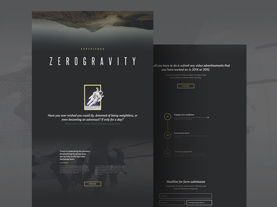 Zero G space virool campaign web website webpage minimal museo wip landing page ui flat