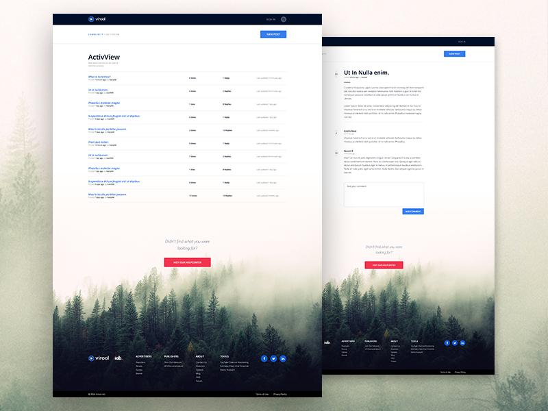 Forum footer webpage website web post minimalistic layout ui forum community virool