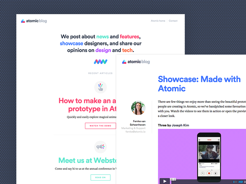 Atomic blog blog flat colourful clean web atomic
