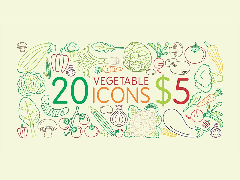 20 Icons for $5 icon set vegetables vegetable icon icons