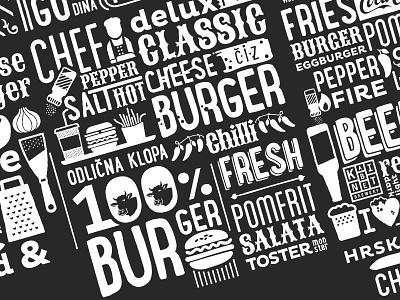 Toster - Burger&Beer Bar menu typography icons illustration branding