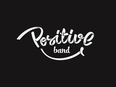 Positive Band lettering handwritten logotype logo