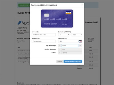 Apollo Web Studio Invoice With Css3 Animated Credit Card Form By