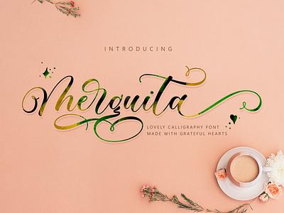 Merguita Script beautiful font script letters new font design invitation typography branding script font