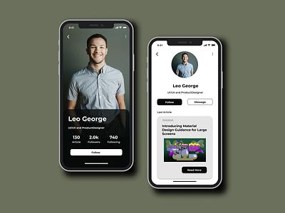 User Profile UI Design userprofile userinterfaces userinterface ui dailyui mobile app uidesign