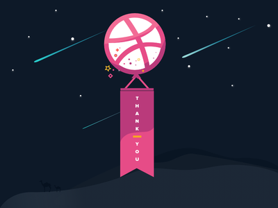 Thank you and Hallo Dribbble debut dribbble flat thanks illustration