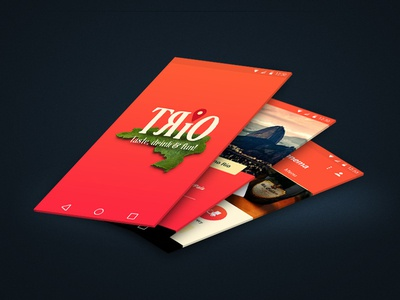 Trio - Taste, drink & fun! (Work on Progress) catalogue beverages foods app simple mobile minimal flat android icons design