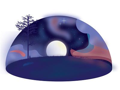 MoonSet night sky moon stars trees illustration adobe 2k21 2021 adobe illustrator vector minimal design
