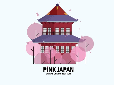 Pink Japan japan cherry blossom japanese cherryblossom cherry blossom japan illustration adobe 2k21 2021 adobe illustrator vector minimal design