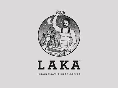 LAKA Logo strong fire beard man blacksmith steel iron copper