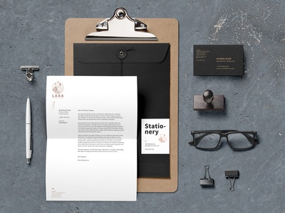 LAKA Corporate Identity black identity letterhead businesscard cottonpaper letterpress fire beard man blacksmith iron copper