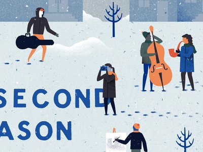 Second Season Arts illustration winter snow art texture philadelphia philly type