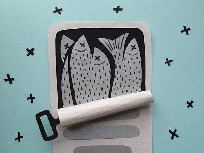 Sardines paper sardines illustration 100daysofpapercutz the100dayproject
