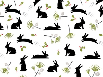 Buns rabbits bunnies holidays christmas pattern illustration