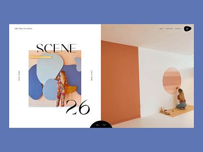 Portfolio Interactions ux interface portfolio minimal serif colorful editorial layout interior design fashion website animation typography ui web design