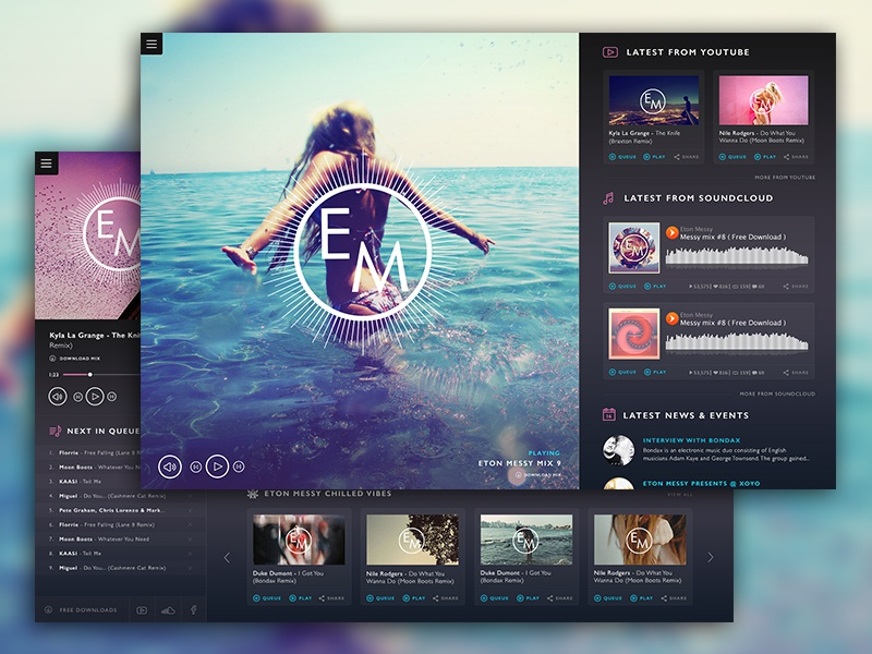 Eton Messy Website Concept ui ux web design website interface music web social layout app dash board clean