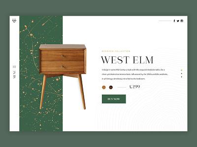 West Elm - Lookbook clean header magazine minimal serif simple typography ui ux website furniture web design