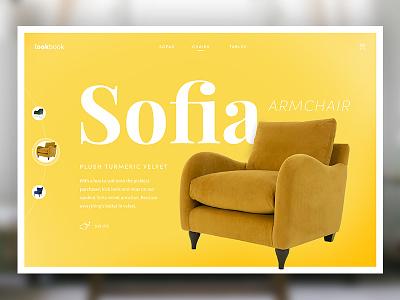 Armchair Lookbook clean header minimal furniture serif simple typography ui ux website web design