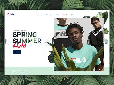 Fila Spring/Summer web design website ux ui typography simple serif plant minimal header clean