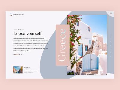 Pastel Paradise travel clean serif minimal simple web typography header website web design ui
