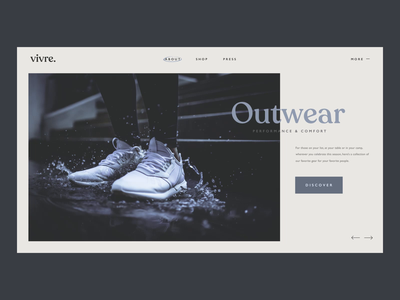 Vivre - Outwear Lookbook minimal clean web transitions trainers fashion design header simple serif typography interface website web design