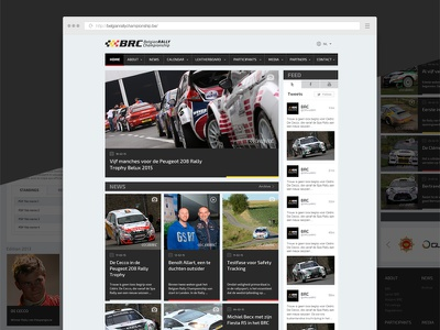 Responsive website for Belgian Rally Championship gray grayscale cars racing rally website responsive