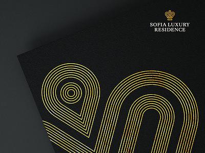 Sofia Luxury Residence yellow gold dark black lifestyle building premium luxury logo branding