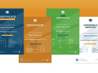 Certificates for Software University diploma pre-press print certificate education university softuni