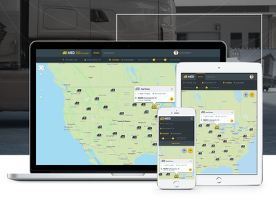 Responsive web-based UI truck cargo delivery ui ux responsive material flat