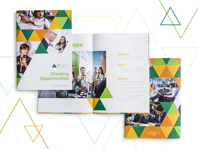 JA Europe 2015 Annual Report triangle booklet book editorial print ja 2015 review year report annual