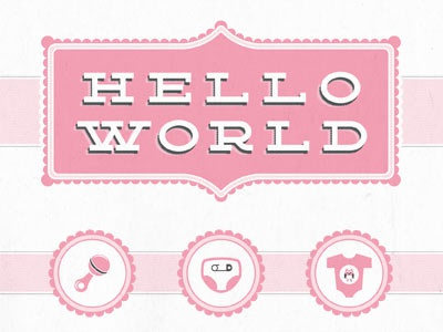 Announcement Print Detail1 design baby cards icons