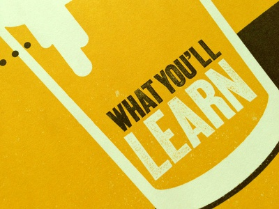 What You'll Learn poster internship texture typography infographics
