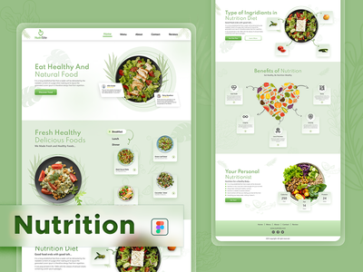 Nutritions Landing Page Design Template figma designs healthy food marketing webpage graphics design ui ux design landing page design nutrition