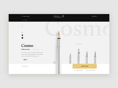 WIP Product page for a pen manufacturer
