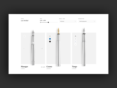 WIP Product Overview for a pen manufacturer